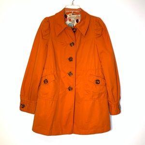 Anthropologie Elevenses Orange Pea Coat Size 6